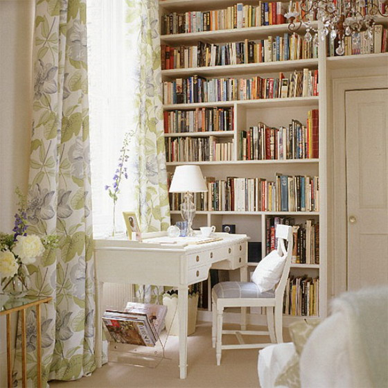 Vintage-Home-Office-Design-with-White-Furniture-and-Large-Bookshelf
